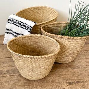 Nesting Danish Seagrass Woven Circular 3 Baskets